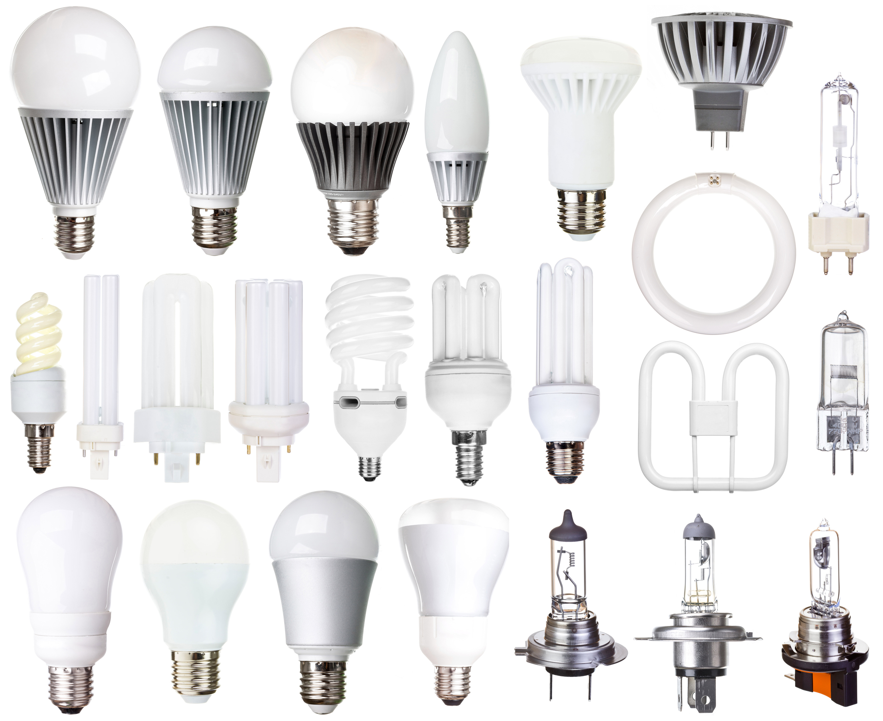 set of bulbs isolated on white background, halogen, LED light